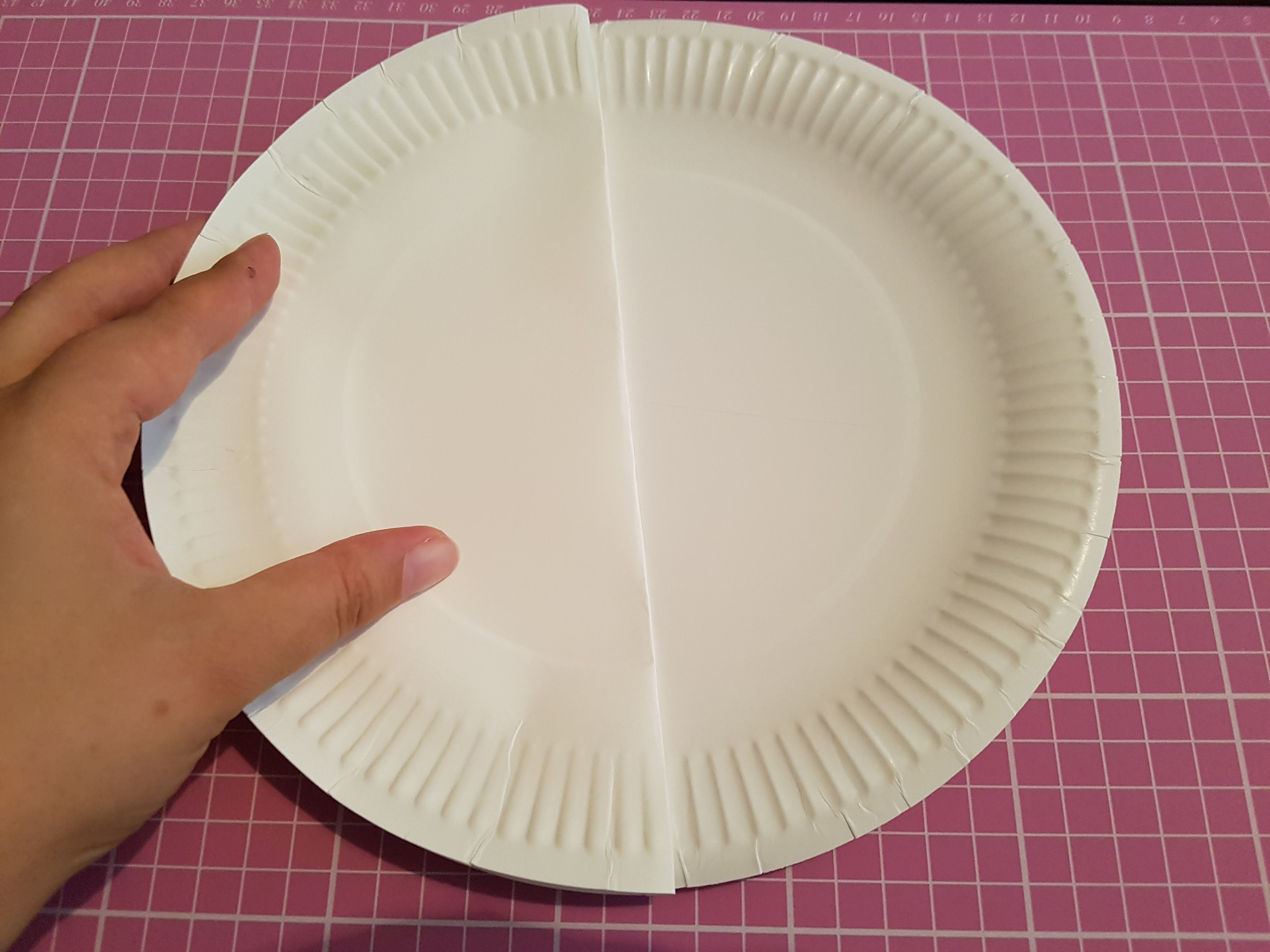 Using a folded paper plate to find diameters